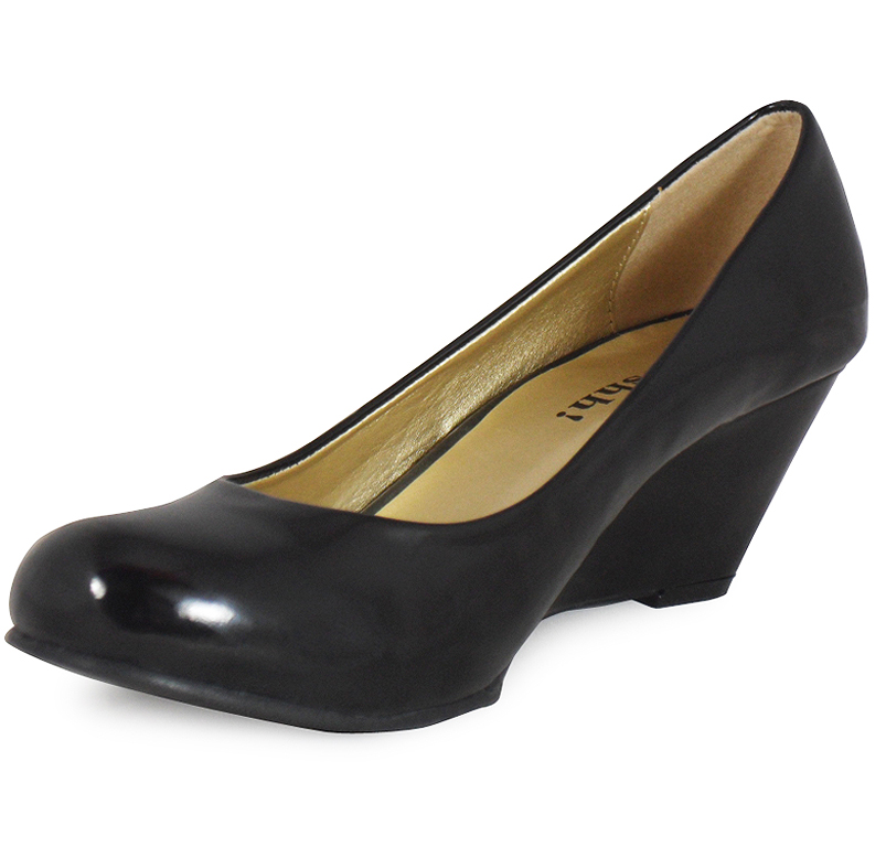 womens black patent low heel wedge casual work posh