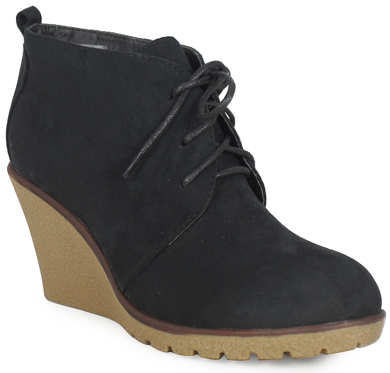 womens wedge heel low faux suede casual lace up