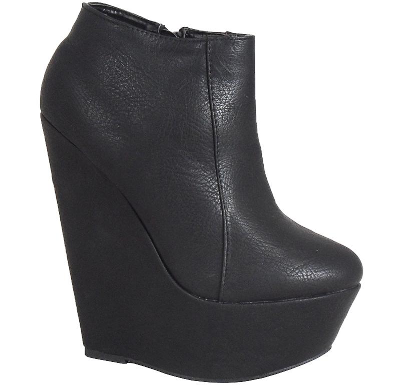 womens black ankle zip platform high wedge shoes